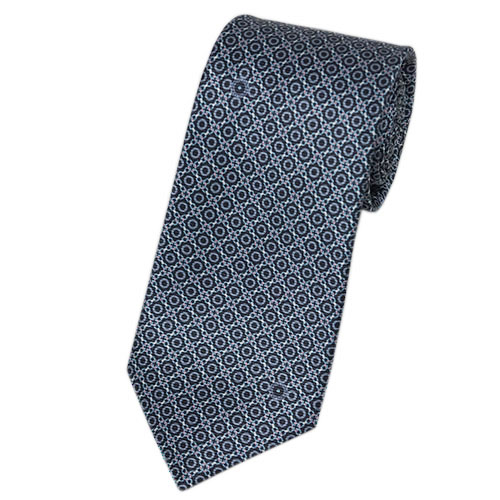 ブルガリ ネクタイ 241155 メンズ プリント デザイン ネイビー/グレー/ピンク 紙袋付き