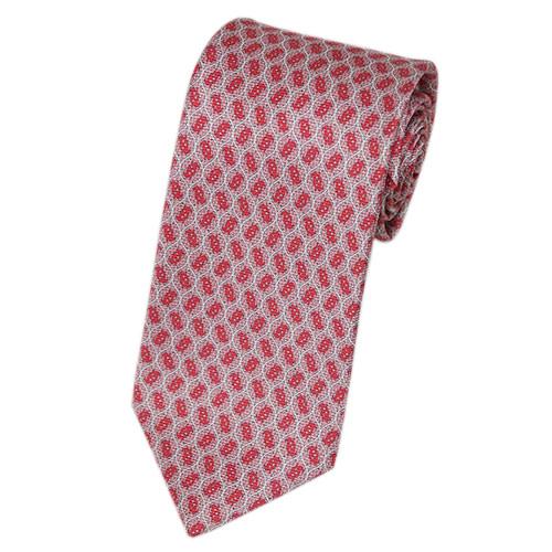 ブルガリ ネクタイ 241172A メンズ アニマルプリント サカナ コーラルレッド/ピンク/ホワイト 紙袋付き