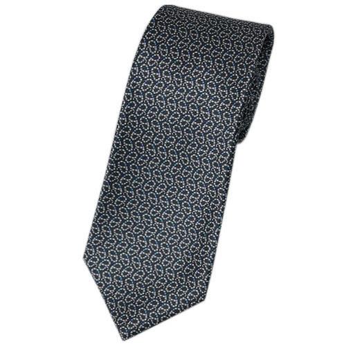 ブルガリ ネクタイ 241174 メンズ プリント デザイン ダークグレー/グレー/ブルー 紙袋付き