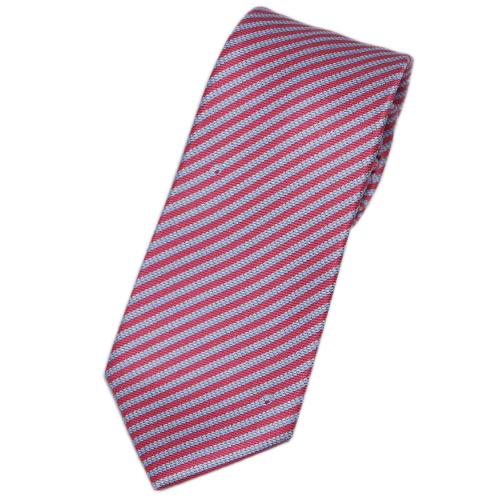 ブルガリ ネクタイ 241177 メンズ プリント デザイン ストライプ ストロベリー/グレー 紙袋付き