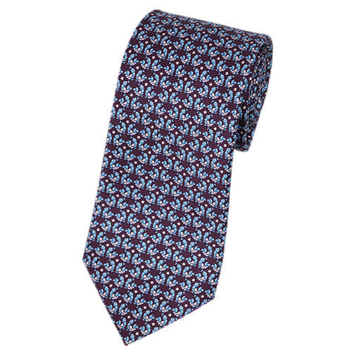 ブルガリ ネクタイ 241189 メンズ アニマルプリント トリ ボルドー/ブルー/ピンク 紙袋付き