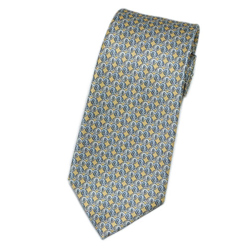 ブルガリ ネクタイ 241192 メンズ プリント デザイン クリームイエロー/グレー 紙袋付き