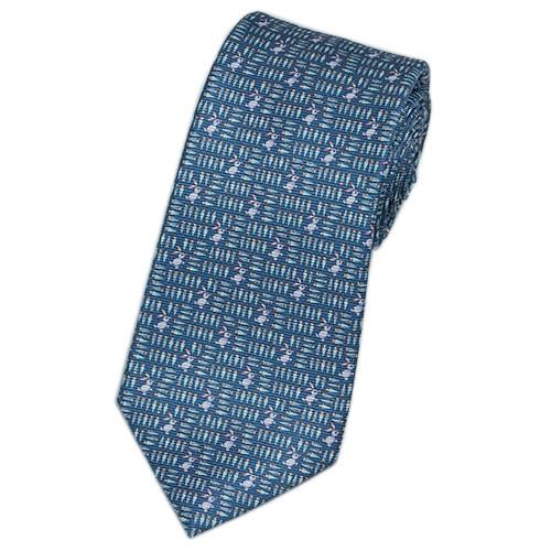 ブルガリ ネクタイ 241202 メンズ アニマルプリント ウサギ ブルー/ピンクパープル 紙袋付き