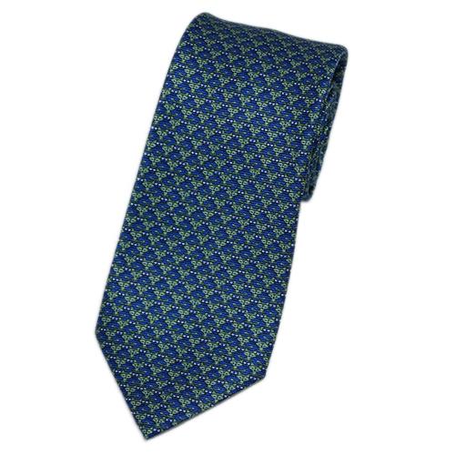 ブルガリ ネクタイ 241212 メンズ アニマルプリント フォックス+キャット グリーン/インクブルー 紙袋付き