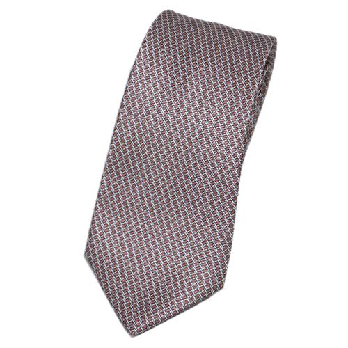 ブルガリ ネクタイ 241239 メンズ プリント デザイン テラコッタ/グレー 紙袋付き