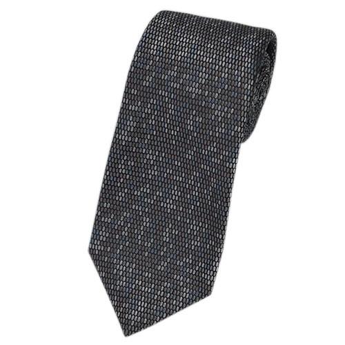 ブルガリ ネクタイ 241293 メンズ ジャガード デザイン ブラウン/グレー/ブルーグレー 紙袋付き
