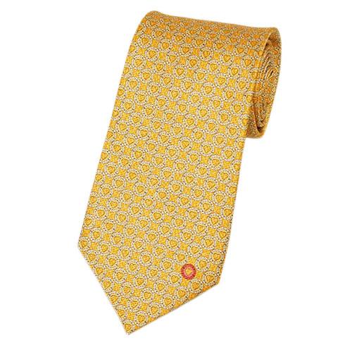 ブルガリ ネクタイ 241453 BVLGARI メンズ ハートプリント パンプキン/オフホワイト/ピンク 紙袋付き