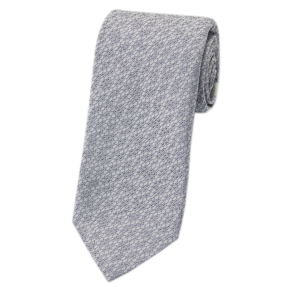 ブルガリ ネクタイ 241626 BVLGARI メンズ ジャガード デザイン グレー/ライトグレー/シルバー 紙袋付き あす楽対応