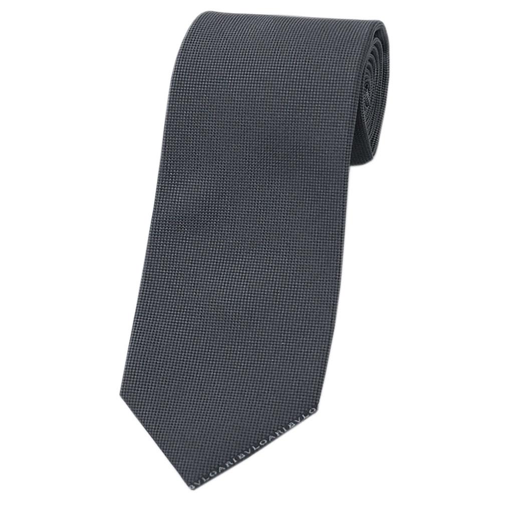 ブルガリ ネクタイ 242223 BVLGARI メンズ ジャガード デザイン COLORS 3D ダークグレー/ブラック 紙袋付き あす楽対応