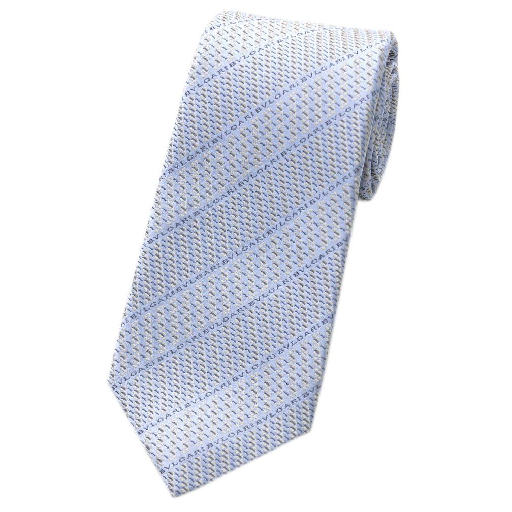 ブルガリ ネクタイ 242299 BVLGARI メンズ ジャガード デザイン LOGO DIAGONO ライトブルー/シルバーグレー/ブルー 紙袋付き あす楽対応