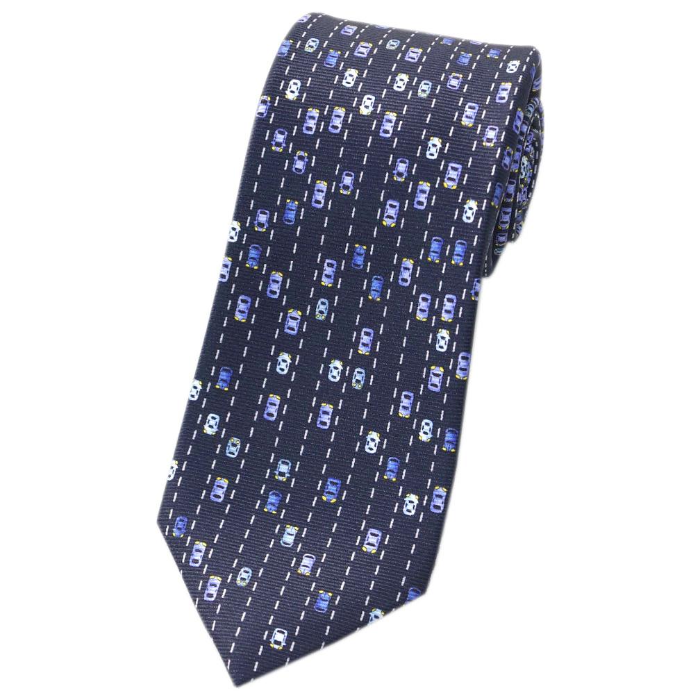 ブルガリ ネクタイ 242481 BVLGARI メンズ プリント デザイン TRAFFIC JAM ネイビー/ブルー/ホワイト 紙袋付き あす楽対応