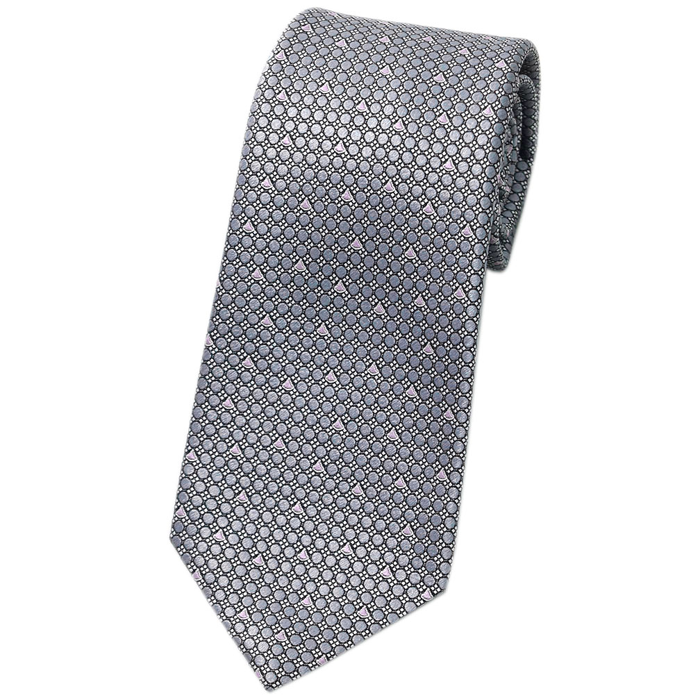 ブルガリ ネクタイ 242846 BVLGARI メンズ ジャガード デザイン RARE DIVA グレー/ピンク 紙袋付き あす楽対応