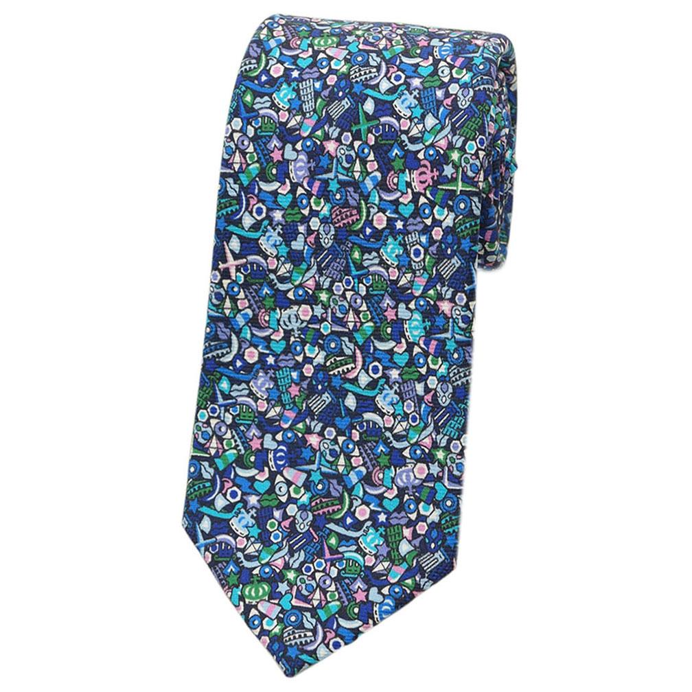 ブルガリ ネクタイ 243155 BVLGARI メンズ プリント デザイン ブルー/グリーン 紙袋付き あす楽対応