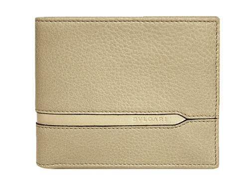 ブルガリ 財布 37160 メンズ 横長 二つ折り札入れ BVLGARIロゴ カーフ ベージュ あす楽対応