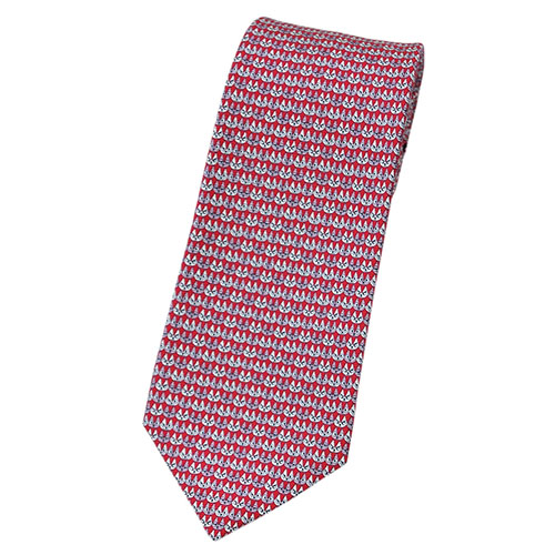 ブルガリ ネクタイ 241878 BVLGARI メンズ アニマルプリント ネコ レッド/ピンク/クリーム 紙袋付き あす楽対応