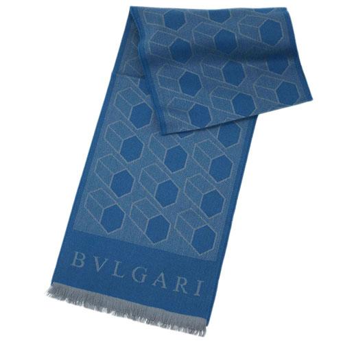ブルガリ ストール 242431 BVLGARI メンズ ショール カシミア/シルク フレークキューブ 28x180 ライトブルー あす楽対応