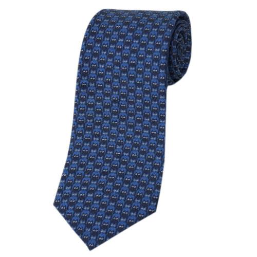 ブルガリ ネクタイ 242496 BVLGARI メンズ アニマルプリント デザイン CATMOUFLAGE ブルー/ネイビー 紙袋付き あす楽対応