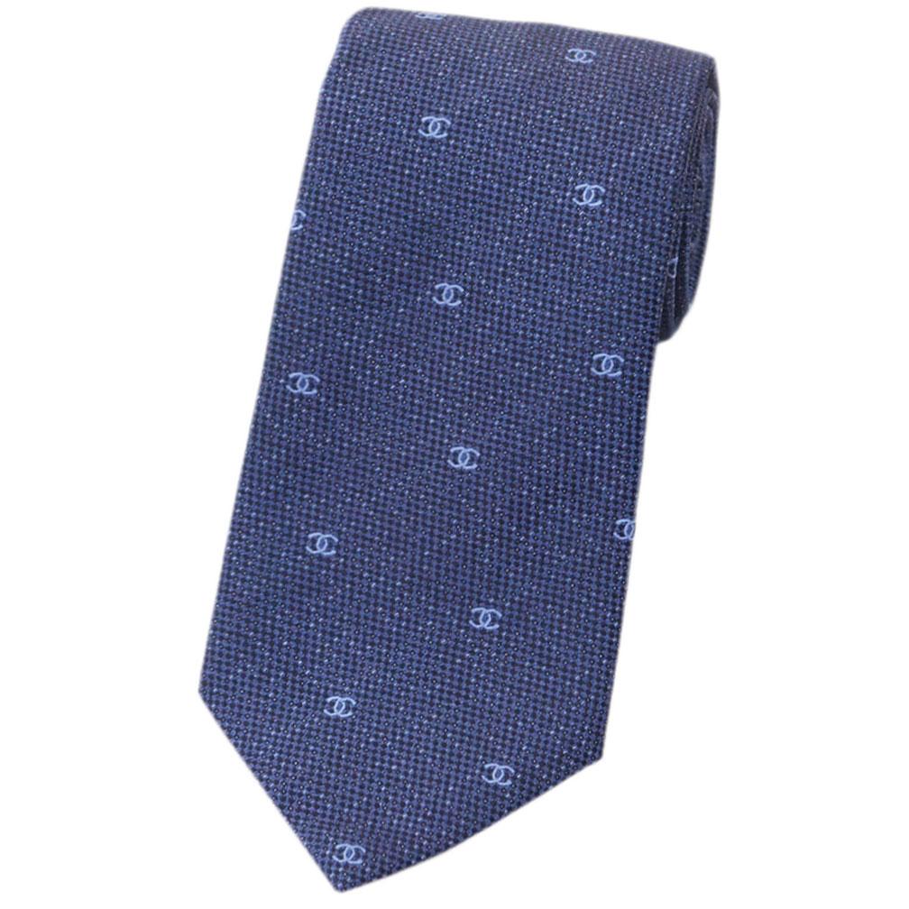 シャネル ネクタイ A78242 CHANEL メンズ ジャガード デザイン CC デニムブルー/ライトブルー シルク100% あす楽対応