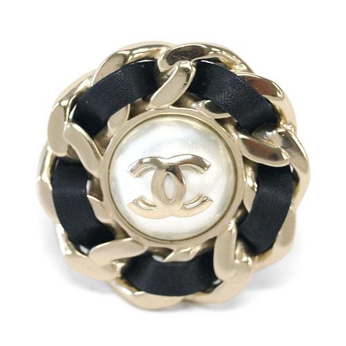 シャネル リング AB0086 CHANEL 指輪 ビッグ ココ CC パール+チェーン ゴールド #54 紙袋付き あす楽対応