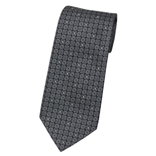 CHANEL シャネル ネクタイ メンズ ジャガード デザイン ミニCC ブラック/グレー シルク100% 17117 あす楽対応