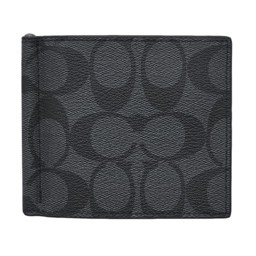 コーチ 財布 F26106-CQBK COACH メンズ 二つ折り 札入れ マネークリップ ビルフォールド シグネチャー チャコール/ブラック アウトレット あす楽対応