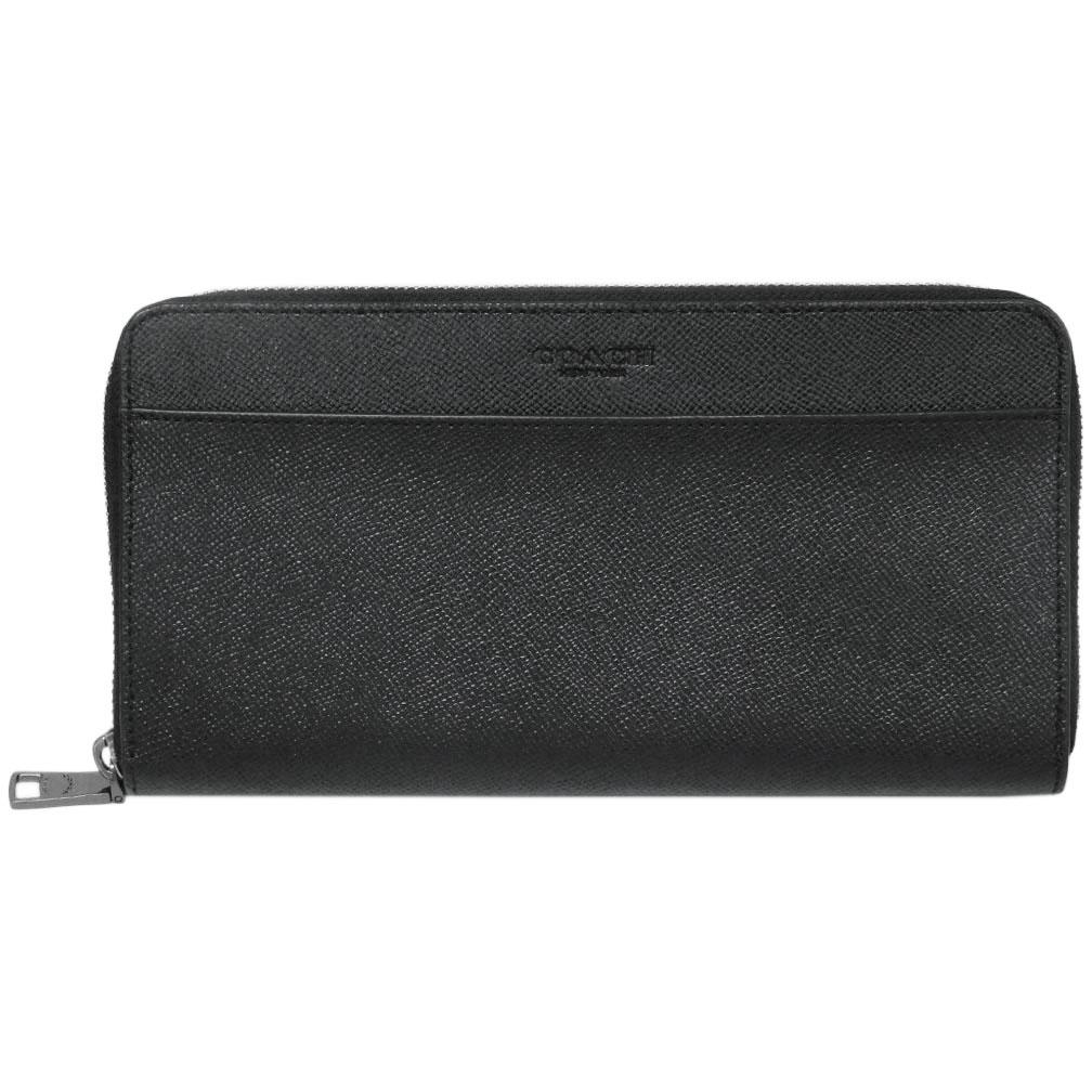 コーチ 財布 F67622-QB/BK COACH メンズ ラウンドファスナー長財布 トラベル ウォレット クロスグレインレザー ブラック アウトレット あす楽対応 キャッシュレスで5%還元!