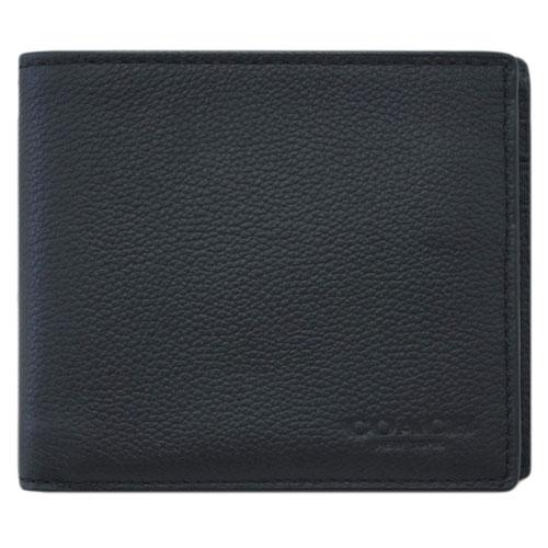 コーチ 財布 F74991-BLK COACH メンズ 二つ折り 札入れ 取り外しカードケース コンパクト ID ウォレット スポーツ カーフレザー ブラック アウトレット あす楽対応