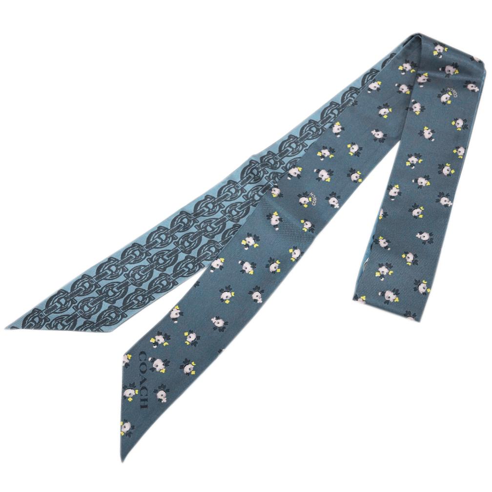 コーチ スカーフ 29866-CMB COACH シグネチャー チェーン モノグラム スキニー スカーフ シルク100% 127x5 シャンブレー アウトレット