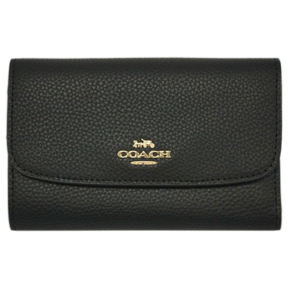 コーチ 財布 F30204-IMBLK COACH 三つ折り財布 ミディアム エンべロープ ウォレット カーフレザー ブラック アウトレット