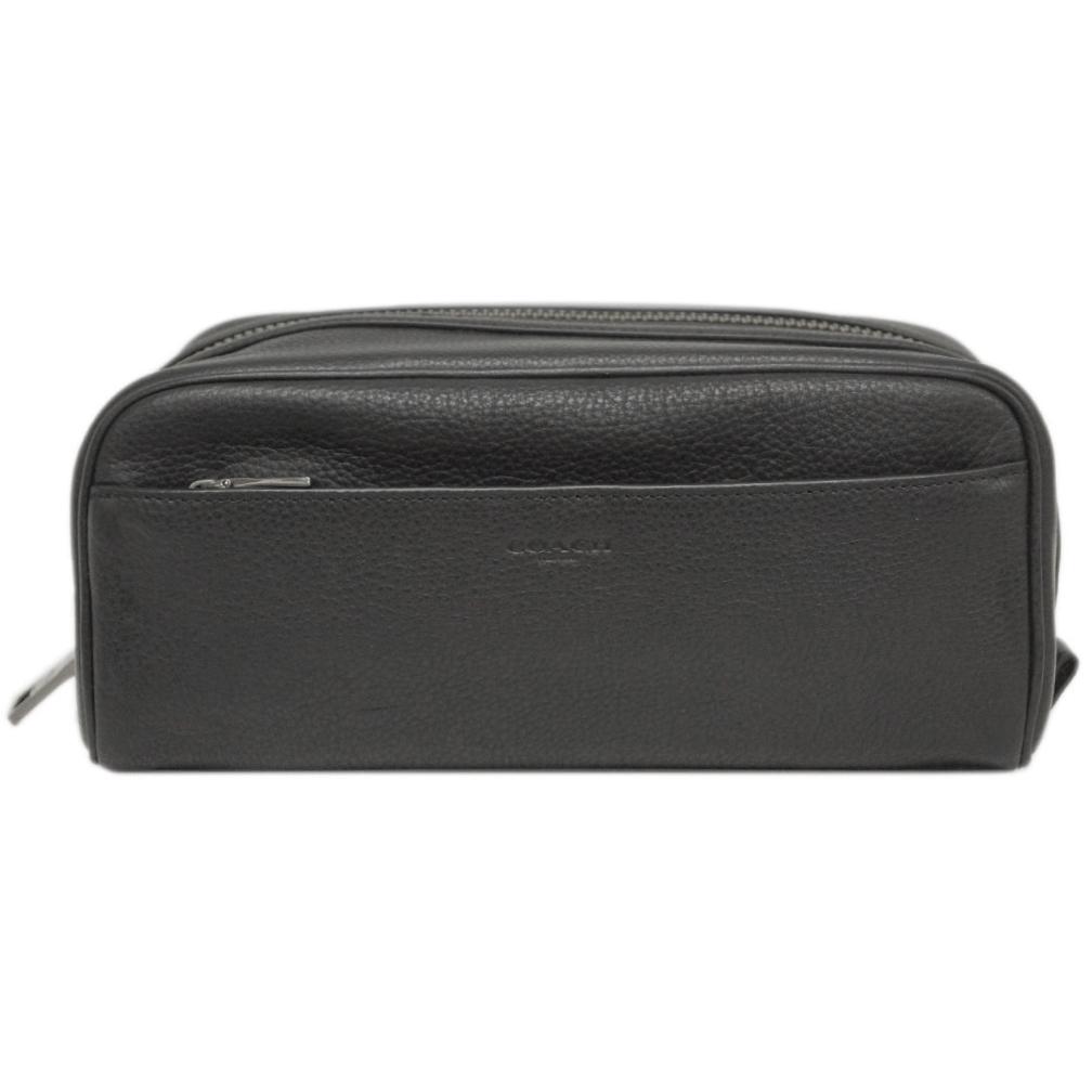 コーチ ポーチ F73090-QB/BK COACH メンズ セカンドバッグ トラベル ドップ キット レザー ブラック アウトレット