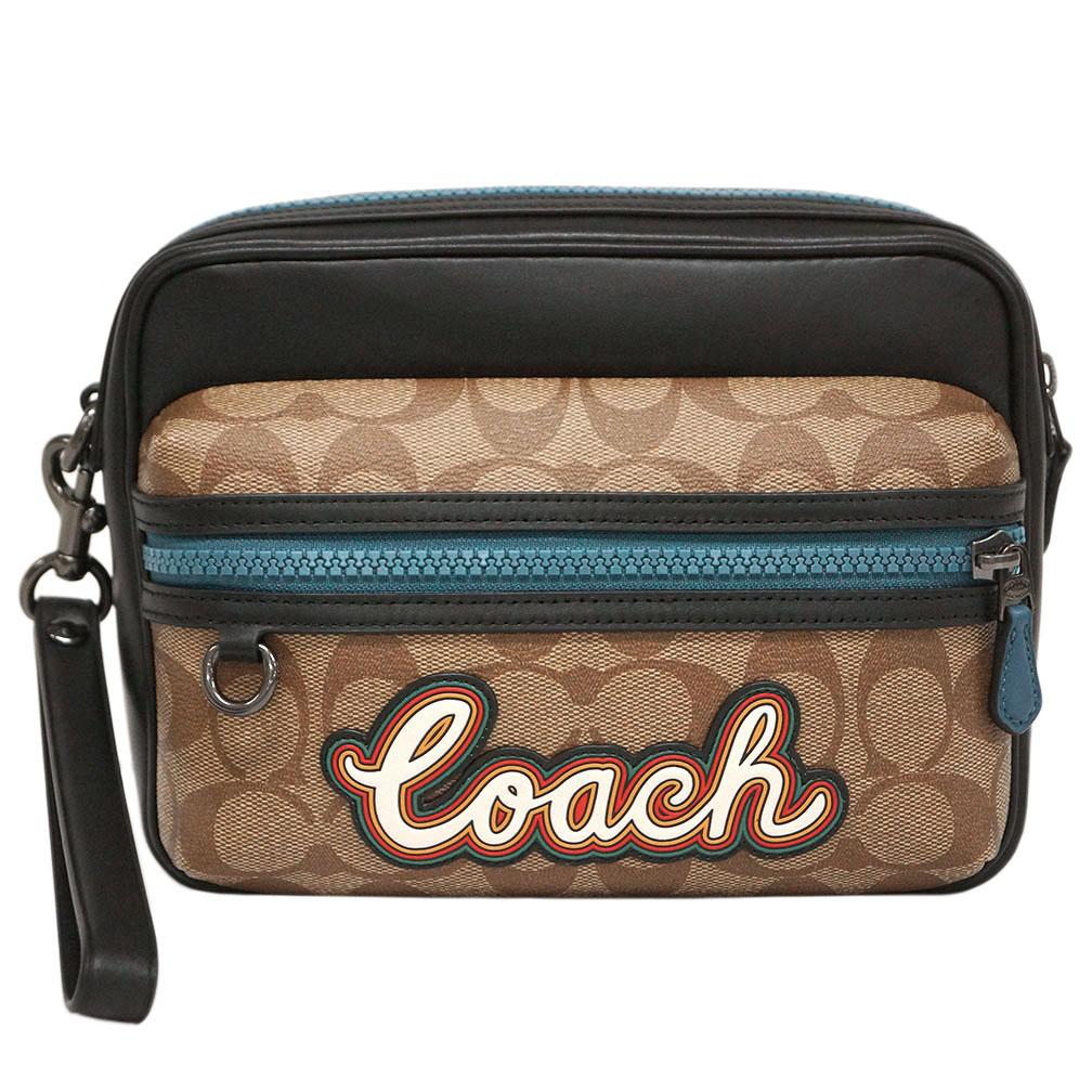 コーチ バッグ F76869-QBTN2 COACH メンズ セカンドバッグ ストラップ付き テレイン ポーチ シグネチャー キャンバス ウィズ コーチ スクリプト タン