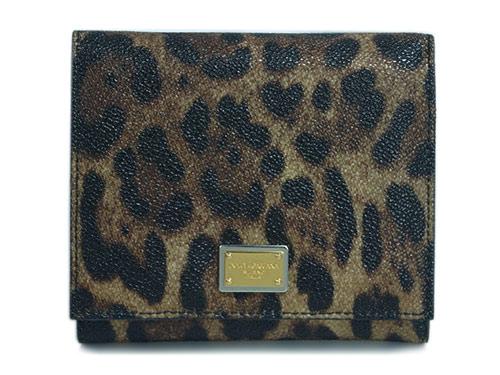 ドルチェ&ガッバーナ 財布 BI0088 三つ折り財布 コンパクト レオパード ナチュラルxブルー GL+SVロゴプレート アウトレット