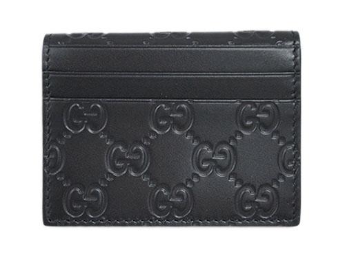 グッチ カードケース 352365-1000 二つ折り 名刺入れ グッチッシマ ブラック あす楽対応