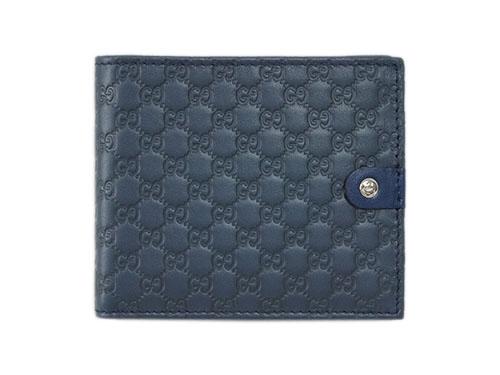 グッチ 財布 365477-4179 メンズ 二つ折り 札入れ Gボタン マイクログッチッシマ ネイビーxカーフ ブルーグレー