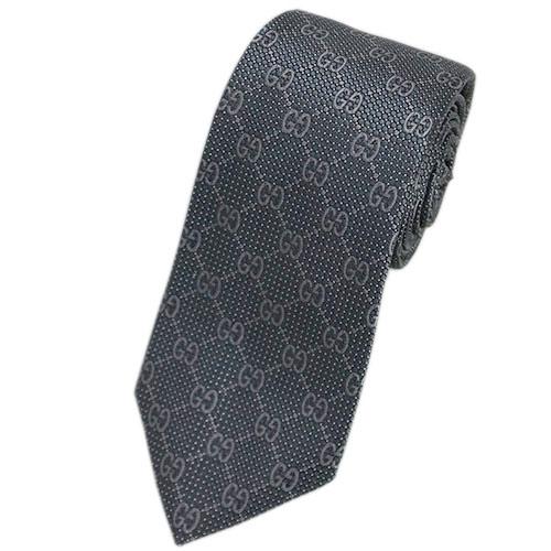 グッチ ネクタイ 232461-1263 GUCCI メンズ ジャガード デザイン GGパターン シルク100% スチールグレー/トープ DEIENE アウトレット あす楽対応