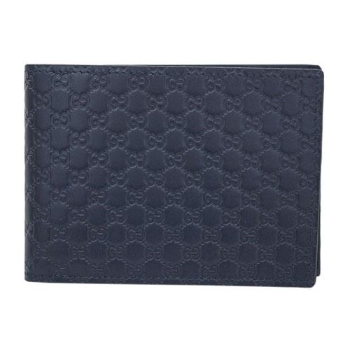 グッチ 財布 292534-4009 GUCCI メンズ 二つ折り 小銭付き 横長 マイクログッチッシマ ネイビー アウトレット