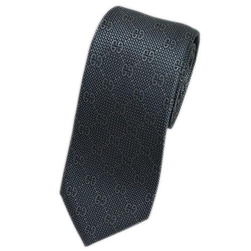グッチ ネクタイ 408865-1263 GUCCI メンズ ジャガード デザイン GGパターン+ドット シルク100% スチールグレー/トープ/ホワイト DEIENE アウトレット あす楽対応