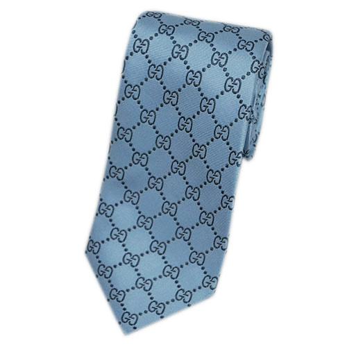 グッチ ネクタイ 421070-4968 GUCCI メンズ ジャガード デザイン GGパターン シルク100% ヒヤシンスブルー/グレー ARGOS アウトレット あす楽対応