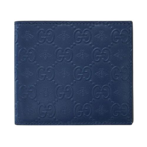 グッチ 財布 406612-4284 GUCCI メンズ 二つ折り マネークリップ 札入れ シグネチャー ビー ブルーxブラック アウトレット あす楽対応