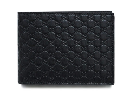 グッチ 財布 217044-1000 アウトレット メンズ 二つ折り 札入れ 横長 折り込みカードケース付き マイクログッチッシマ ブラック あす楽対応