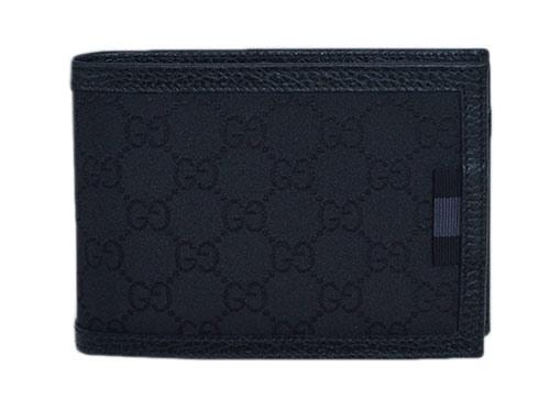 ブラック 二つ折り財布 GUCCI グッチ/ 150413g1xwn8615 GGナイロンxレザー メンズ