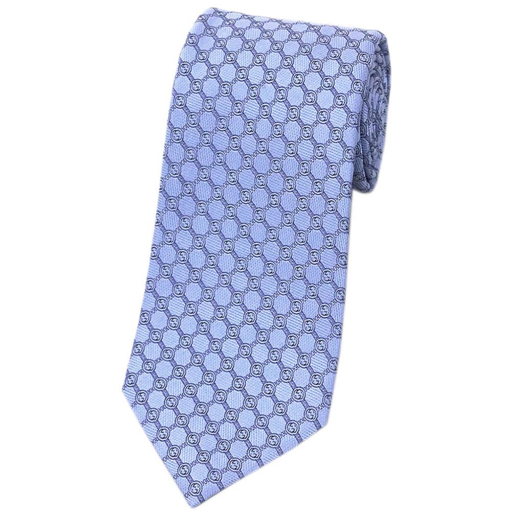 グッチ ネクタイ 386488-4877 GUCCI メンズ ジャガード デザイン ダイヤ+ダブルGパターン シルク100% ライトブルー/ブルー/グレー SOTH アウトレット あす楽対応