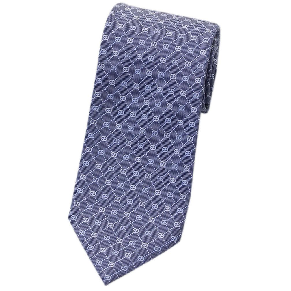 グッチ ネクタイ 386489-4269 GUCCI メンズ ジャガード デザイン アーガイル+GGパターン シルク100% ブルー/シルバーグレー/ブルーグレー CORBIN アウトレット あす楽対応
