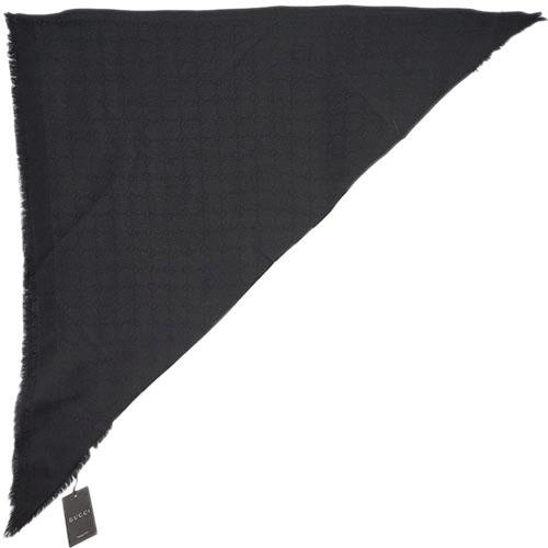 グッチ ショール アウトレット 393988-1000 大判 トライアングル BIGTRIG GGパターン ブラック