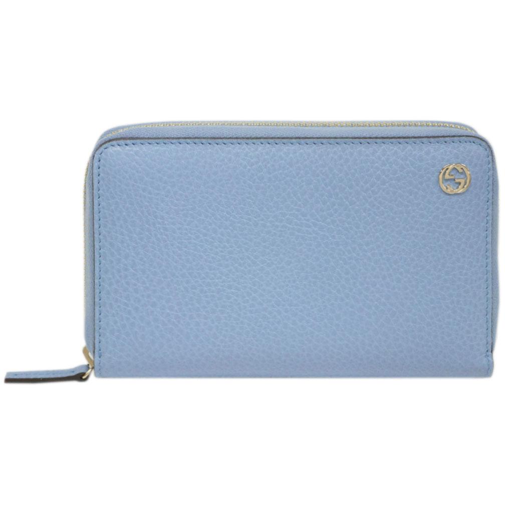 グッチ 財布 464884-4503 GUCCI ラウンドファスナー財布 ミディアム インターロッキングG 型押しカーフ ライトブルー アウトレット