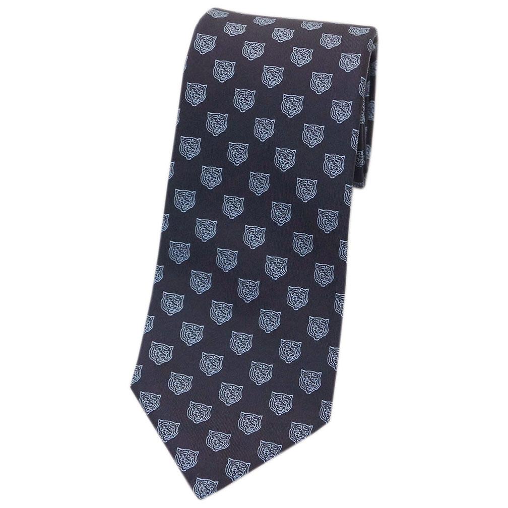 グッチ ネクタイ 473172-4069 GUCCI メンズ ジャガード デザイン タイガー シルク100% ブラック/スモークブルー アウトレット あす楽対応