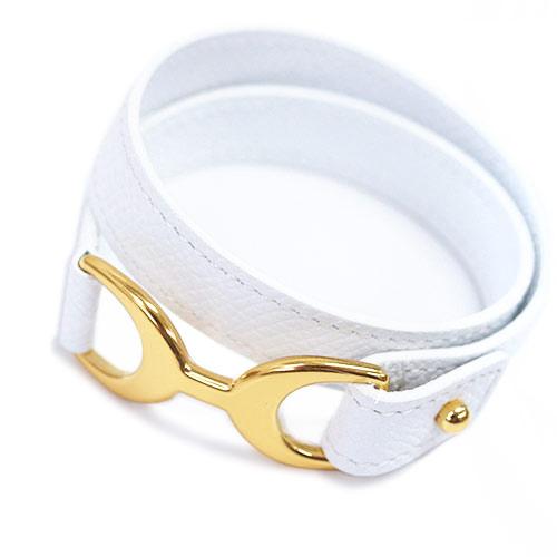 エルメス ブレスレット H066155CC01 ソルド BABY PAVANE ヴォーエプソン ブロン ホワイト ゴールド金具 Sサイズ