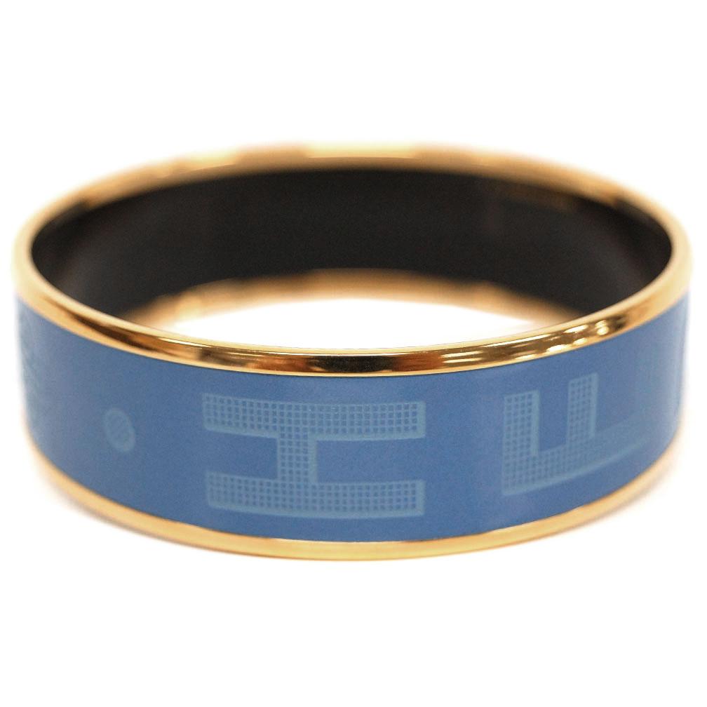 【母の日クーポン】エルメス ブレスレット H111694F01 HERMES ソルド バングル ラージ HERMES SELLIER GRAVE ブルー ゴールド金具 62サイズ キャッシュレスで5%還元!【5/16 10時迄】