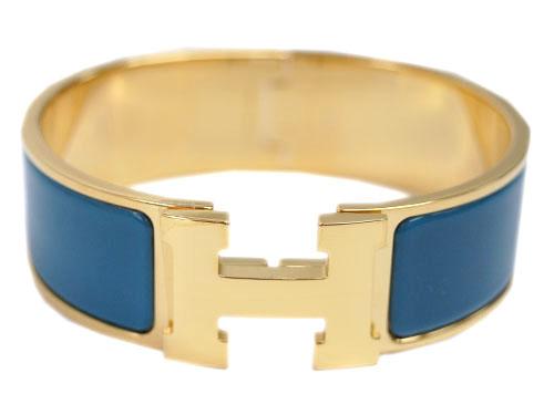 エルメス ブレスレット H300001F74 ソルド バングル クリック・クラック アッシュ ブルーアンディアン ゴールド金具