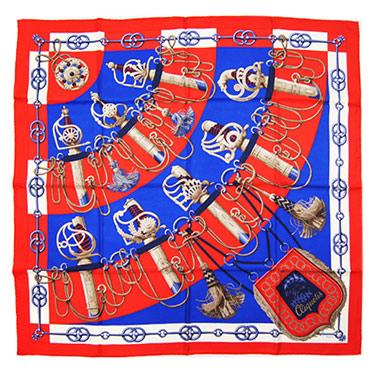 エルメス スカーフ ソルド カレ 90x90 Cliquetis レッド/ブルー/クリーム 12146